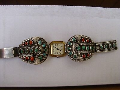 vintage Native American indian SS turquoise and Coral Watch Band Bracelet
