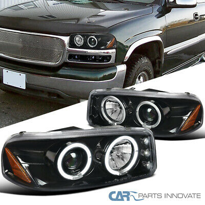 NEW SET OF 2 LED Halo Projector Headlights Black for GMC