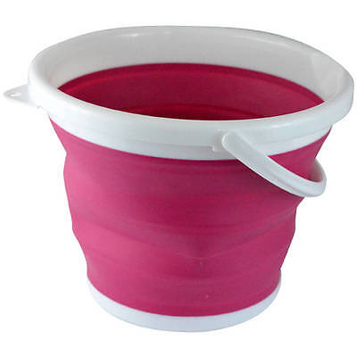 Foldable Silicone Collapsible Bucket, 2.65 Gallon, Pink by Southern Homewares