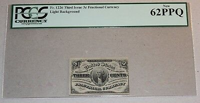 Fractional Currency 3 Cent 3Rd Issue  Fr# 1226 Pcgs 62 Ppq