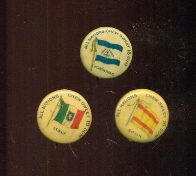1890's Wrigley's Sweet 16 Gum All Nations Flag Pins - Italy,Spain,Honduras