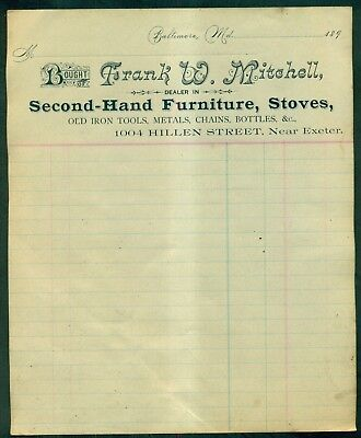 1890's Baltimore,MD - Frank W. Mitchell Antiques Dealer Invoice