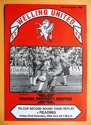 1989/1990 Welling United v Reading - fa cup round 2 THIRD replay - 22/12/1989