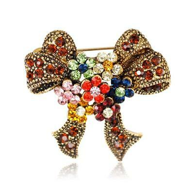 Fashion Antique Gold Plated Colorful Crystal Flower Bowknot Brooch Pin For Women