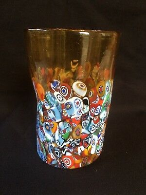 Glass murano glass vase with Murrine zecchin certificate