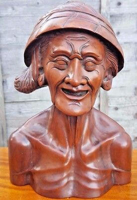 30s 40s Beautiful Bali Art Museum Quality Carved In Wood Old Man Bust Sculpture