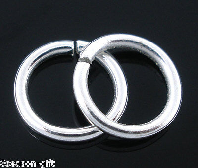 300 PCs Silver Plated Open Rings Findings 1.2x9mm GB