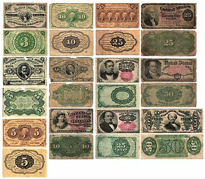 Civil War Era 1862 -1876 12 Different U S Fractional Currency Notes Circulated