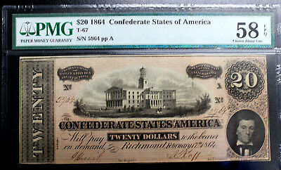 T-67 $20 1864 Confederate CSA PMG58 EPQ ABOUT UNCIRCULATED SERIES 1 SERIAL #5964