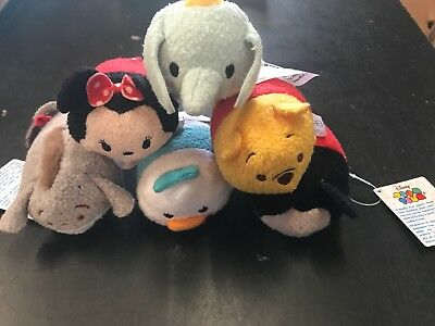 SET of 6 Plush Mini Tsum Tsum Disney Minnie Mickey Donald Pooh Dumbo NWT