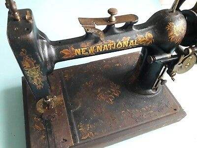 ANTIQUE NEW NATIONAL HAND CRANK SEWING MACHINE NEW NATIONAL ~1890s
