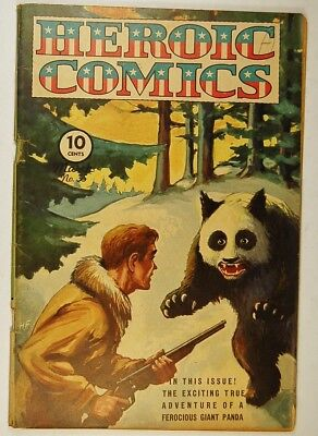 """Heroic Comics #35 (Mar 1946, Eastern Color) """"Facing Death in a Panda's Mouth!"""""""