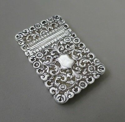 Antique Eastern / Indian Solid Silver  Card Case Hand Chased Design 102Gr