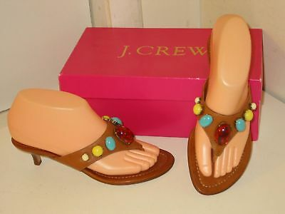 29a1cc4e0f3c J. Crew Paola Leather Jeweled Beaded Thongs Kitten Heels Sandals Shoes  Womens 6