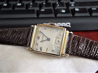Vintage 1940 Elgin 10K Gold Filled 17-Jewels Mens Watch w/ 16mm Hadley Roma Band