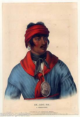 Se-loc-ta, a Creek chief - MCKENNEY & HALL - Lithographie 1836 Indianer-Indian