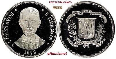 DOMINICAN REPUBLIC PROOF 1978 5 Centavos NGC PF67 UC MINTAGE-5,000 Coins KM# 49