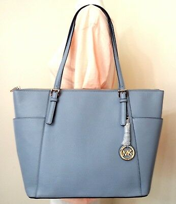 019b1e5c8af32 Michael Kors Jet Set East West Top ZIP Pebbled Leather Large Tote In Pale  Blue