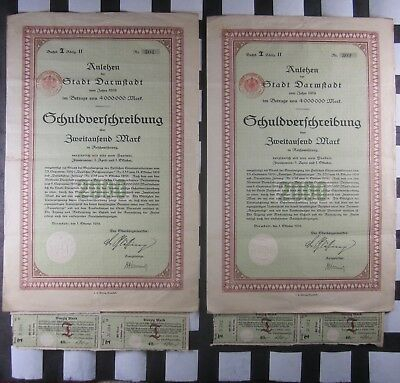Lot of 2) German Anlehen der Stadt Darmstadt 1919 40 Mark Bonds w/ Coupons, Seal