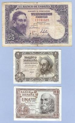 Banknotes Money Currency from Spain, Three Notes