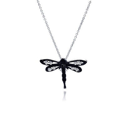 Womens 925 Sterling Silver Black Rhodium CZ Dragonfly Pendant Necklace
