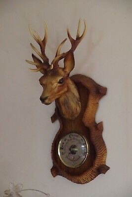 Vintage Barometer Thermometer Retro Kitsch Stags head Plastic Faux Wood