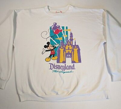 Vintage Disney Designs Sweatshirt White 90s Poly Cotton Size XL