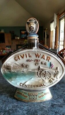Vintage 1961 Jim Beam Civil War Centennial 1861-1961 Whiskey Bottle Decanter
