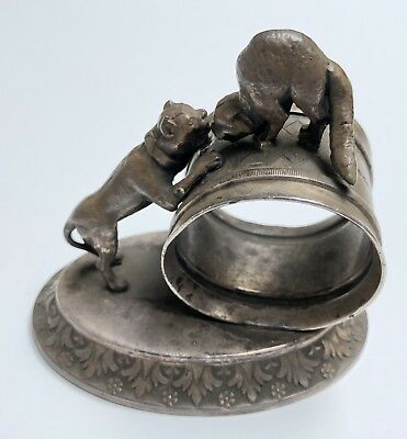 Antique MERIDEN Silver Plate Co. Quadruple Plate #275 Dog and Cat Napkin Ring