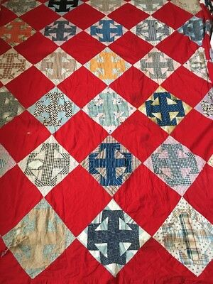 """Antique Crossed T's Quilt Top Early 20th Century Cottons Cutter 86"""" x 79"""""""