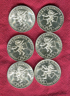 6 1968 Silver Mexico 25 Peso Olympic Coins #3