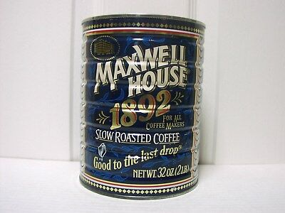Vtg Maxwell House Tin Coffee Can 1892 1992 Anniversary HTF No Lid Excellent