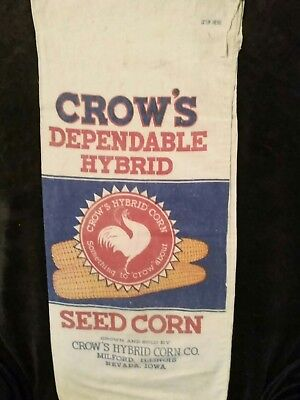 CROWS HYBRID SEED CORN CLOTH SACK. Milford, Nevada. Seed Corn Bag. Excellent.