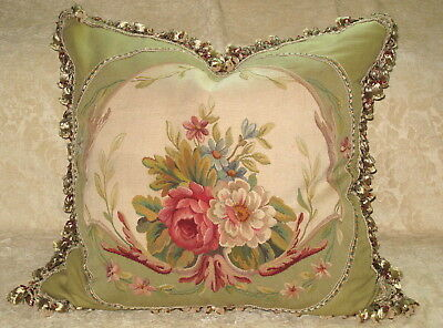 """Huge & Beautiful 19Th C  Antique Floral Aubusson Tapestry Pillow 26"""" X 27"""" #2"""