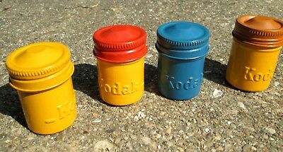Lot of 4 Vintage METAL Kodak 35mm Film Canisters/Containers Painted Colors