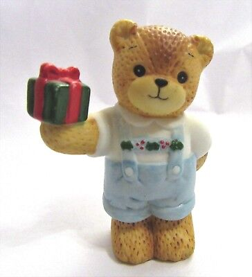 Lucy and Me ~ Holding Christmas Gift ~ Teddy Bear Lucy Rigg Figurine