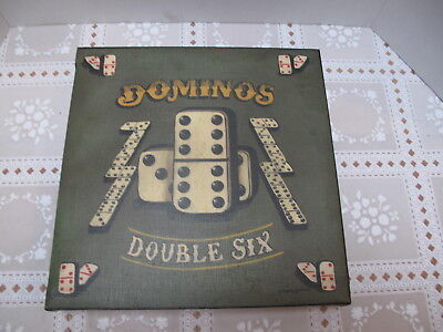 """"""" Dominos Double Six """" Gambling Sign  On Canvas Signed Gregory Gorham"""