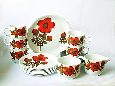 Retro 1970's Pimpernel red Poppy Alfred Meakin Cup, Plate & Saucer 19 Pce. Set