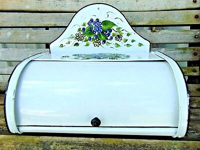 vintage 1940's 1950's KITCHEN TIN BREAD BOX hand painted GRAPES FLOWERS got 2 c