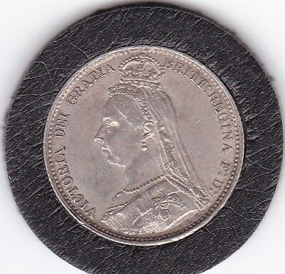 Very Sharp   1887  Jubilee   Head   Sixpence  (6d)  Silver  (92.5%)   Coin