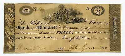 1816 $3 The Richland & Muron Bank of Mansfield, OHIO Note