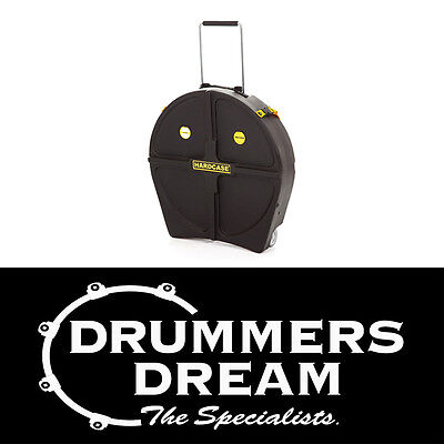 """HARDCASE 22"""" Cymbal Case With Wheels & Retractable Pull Handle LIFETIME WARRANTY"""