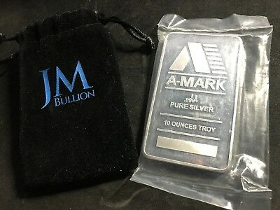 A-Mark 10 oz Silver Bar .999 Fine Sealed