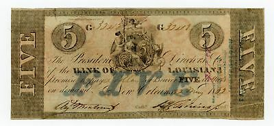 1862 $5 The Bank of LOUISIANA Note - CIVIL WAR Era w/ Forced Issue Stamp