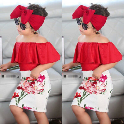 AU Toddler Kids Baby Girls Red Off Shoulder Tops Flower Dress Headband Outfits