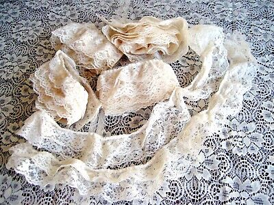 Lot Of Vintage Machine Made Double Flounce Ecru Ruffled Lace Trim 234 Inches