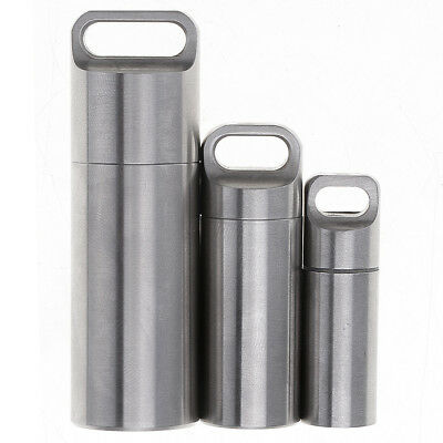 EDC Stainless Steel Waterproof Tank Medicine Pill Box Capsule Storage Container