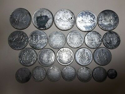 Canadian Silver Coins Lot-Dollars,Halves,Quarters-1903 - 1982-$13.10 Face Value