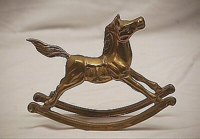 Vintage Solid Brass Rocking Horse Figurine Head & Tail Up Nick Nack Xmas Mantel