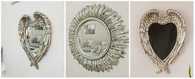 Antique Silver Angel Wings Mirror Shabby Chic Heart Ornate Wall Vanity bedroom